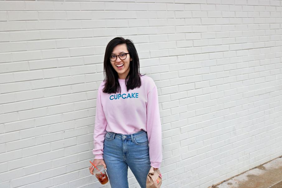 pastel pink cupcake slogan sweater
