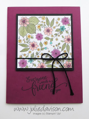 Stampin' Up! Sale-a-bration 2017 Inside the Lines Designer Paper + Watercolor Pencils #stampinup www.juliedavison.com