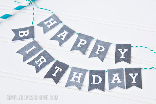 Printable Chalkboard Letters Bunting - Add some charm to your cakes, cupcakes and pies with this free printable download from Yellow Bliss Road!