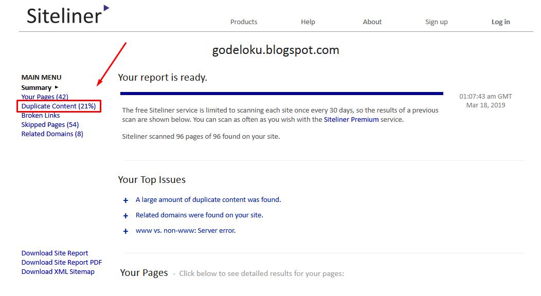 Langkah Dan Cara Mengecek Duplicate Konten Blog Dengan Siteliner
