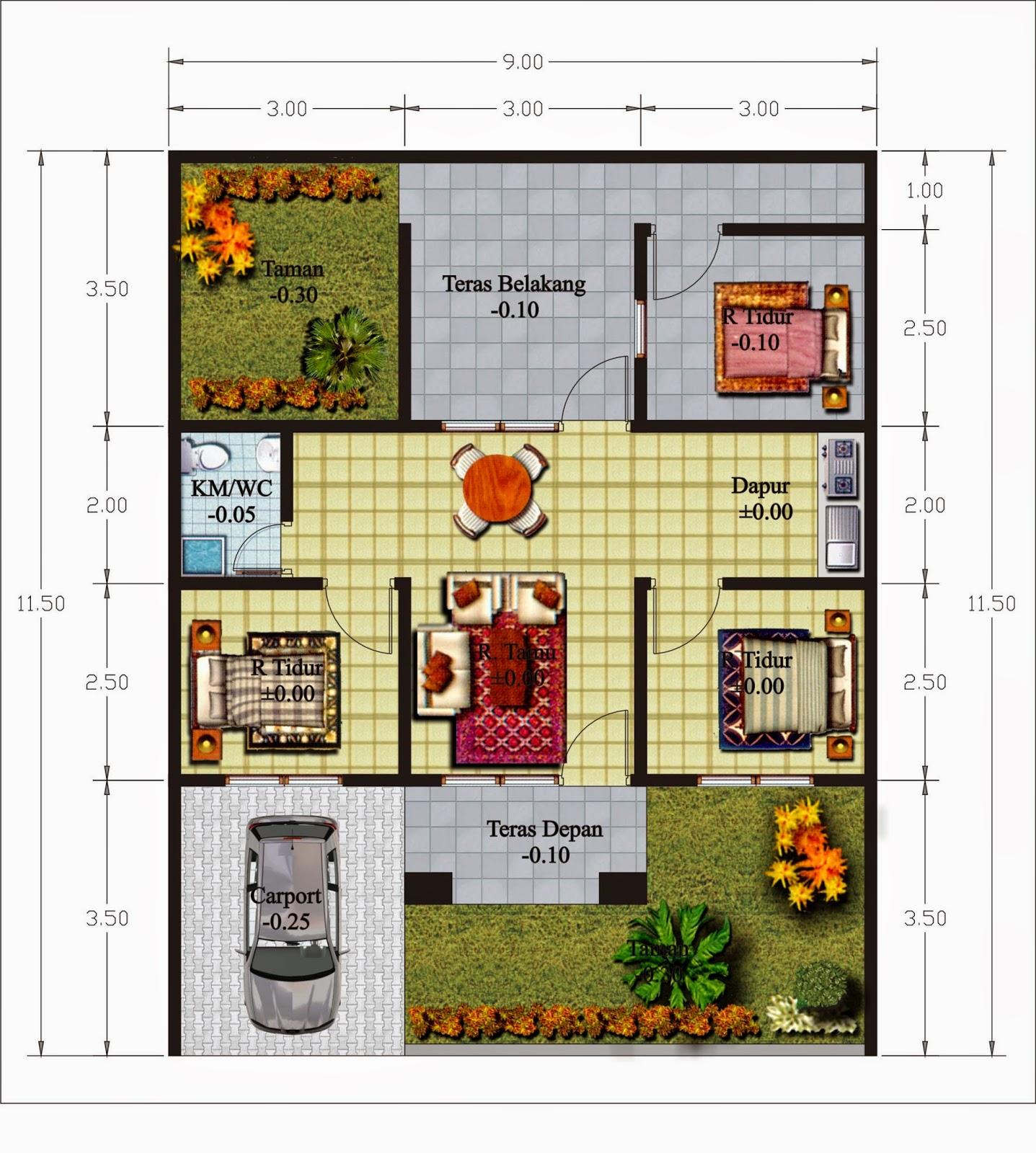Denah Rumah Minimalis 1 Lantai Ukuran 10 X 15 Desain Rumah Minimalis