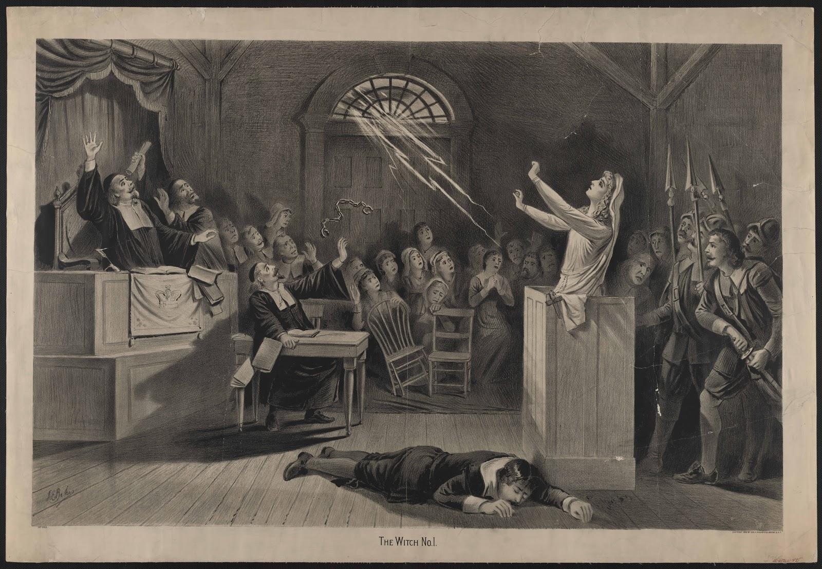 セイラム魔女裁判で被告の女性が人々に囲まれて魔術のようなものを発している