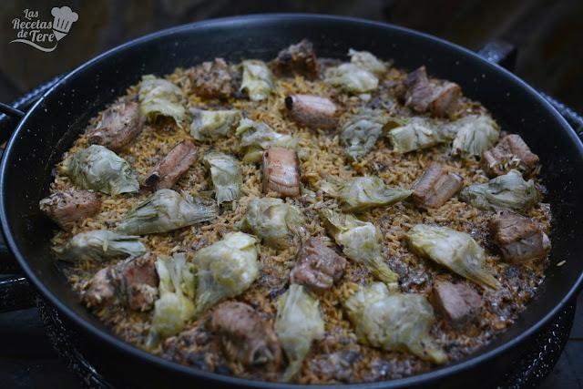 receta de arroz con costilla de cerdo y alcachofas tererecetas 04