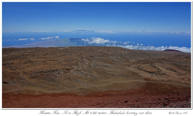 Mauna Kea: It is High. At 4,150 meters. Haleakala hovering over there.