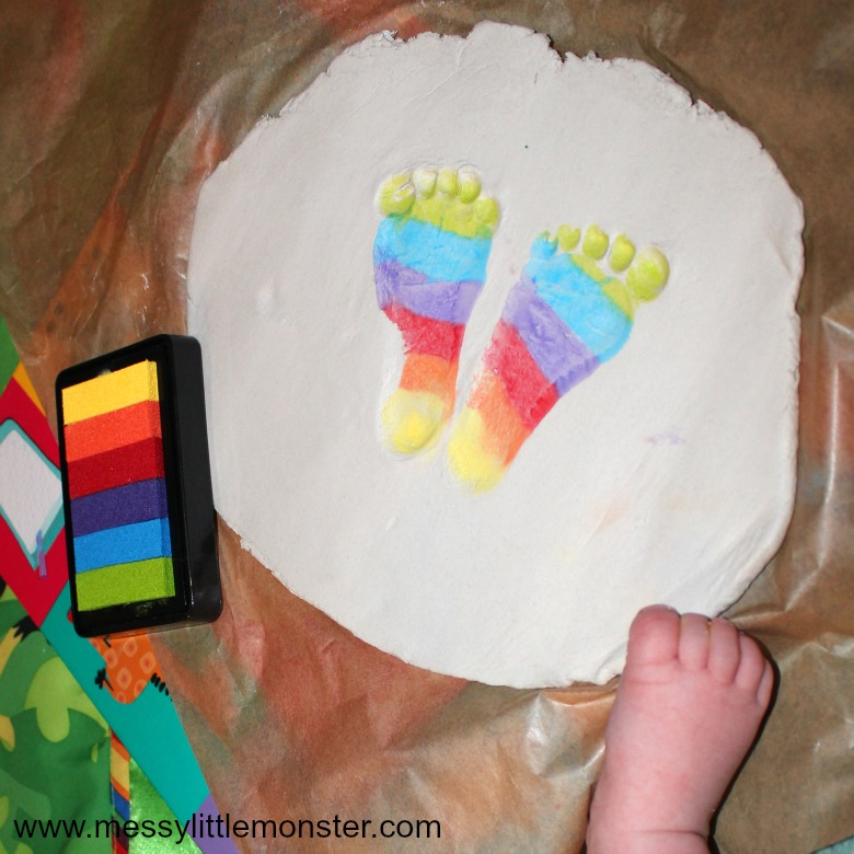 Clay crafts for kids - turn rainbow footprints into a clay footprint ring dish