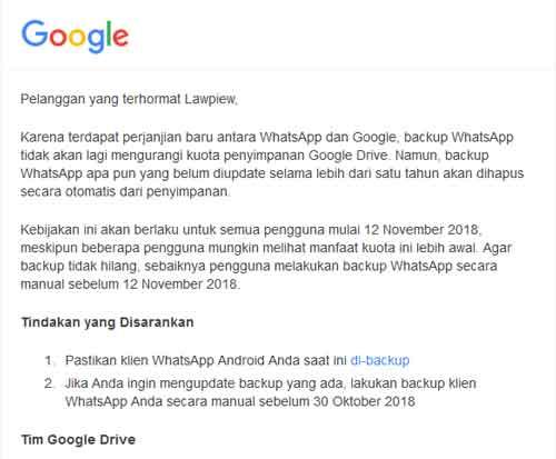 Backup Pesan WhatsApp di Google Drive Sekarang Gratis