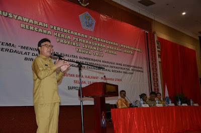 Mendagri, Tjahjo Kumolo memberikan sambutan dalam pelaksanaan Musrenbang.