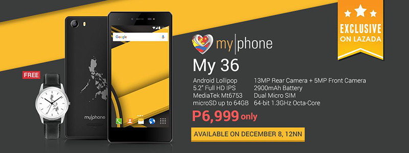BREAKING NEWS! MyPhone My36 Will Be On Sale Exclusively At Lazada Philippines This December 8 12nn For 6999 Pesos Only!