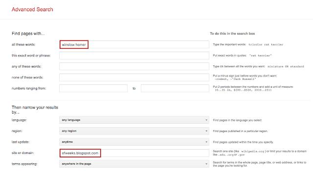 Google Advanced Search specific page