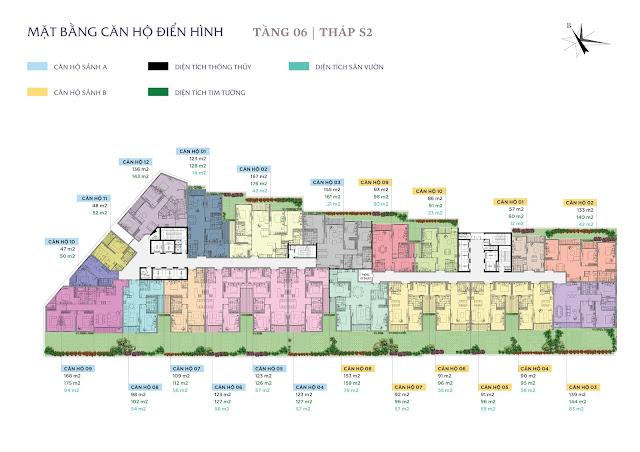 Mặt bằng thiết kế tầng 6 - Tháp S2 - Sun Grand City