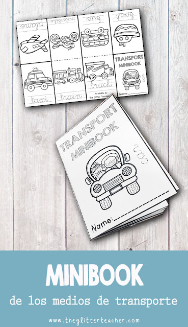 Minibook imprimible de los medios de transporte en inglés
