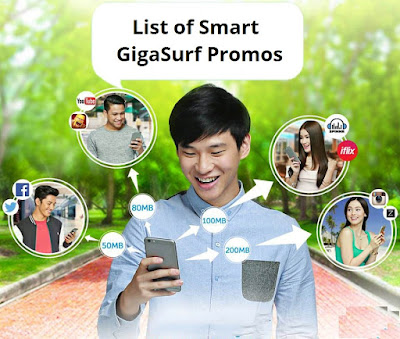 Smart GigaSurf Promos consist of GIGASURF50, GIGASURF99, GIGASURF299 and GIGASURF799. With extra MB for iflix, YouTube, Spinnr, Vimeo, Dailymotion & Dubsmash.