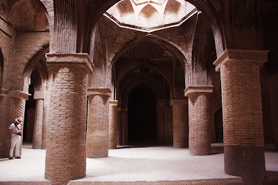 The brick columns in Jaame mosque of Isfahan.