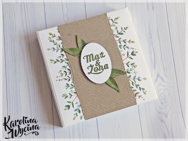 Wiosna z zimą, czyli kartka ślubna w pudełku