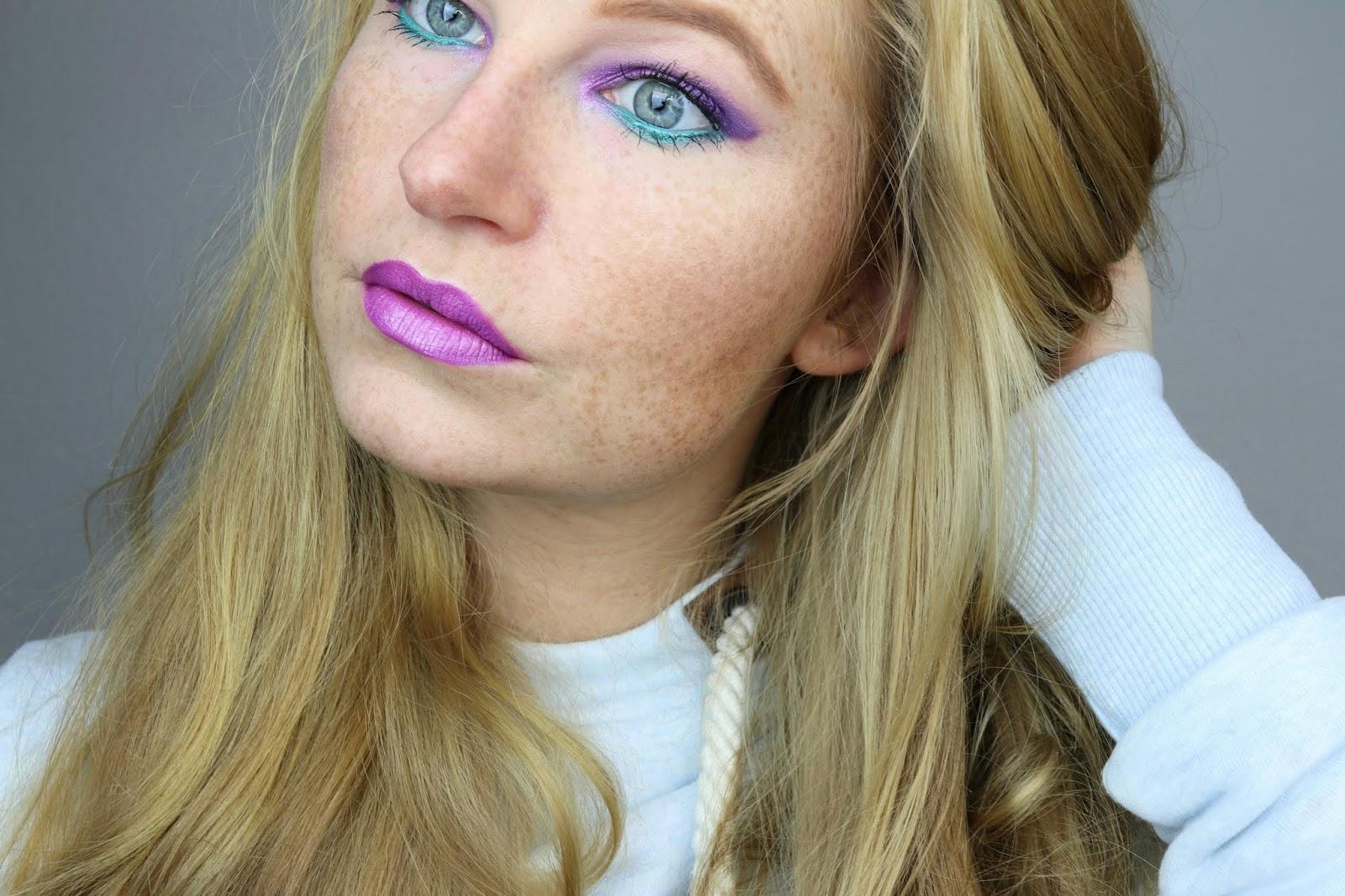 amu, beauty blogger hamburg, colourpop, effect topper, eyeshadow, hatice schmidt, lidschatten, lidschatten 1×1 lila türkis, liquid lipstick, make-up, party look, Purple Turquoise, talasia.de blogparade,