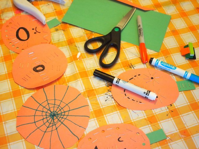Halloween Paper Pumpkin Open Process Art Craft