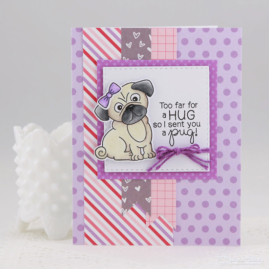 Pug Hug Card by Juliana Michaels | Pug Hugs Stamp Set by Newton's Nook Designs #newtonsnook