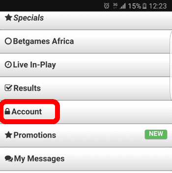 Click on Account - Hollywoodbets Mobisite - Deposit Portal
