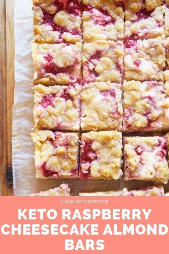 Keto Raspberry Cheesecake Almond Bars