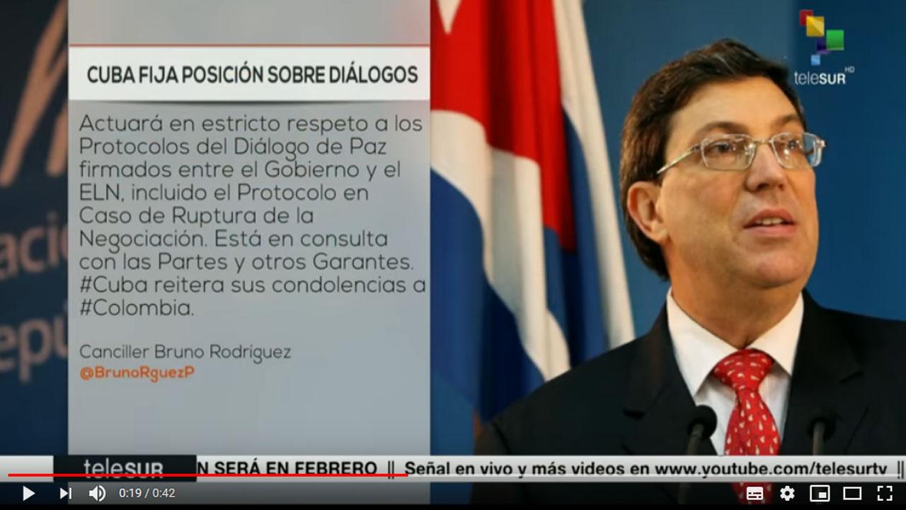 Cuba respetará protocolos del diálogo entre ELN y Gobierno colombiano