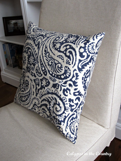 Throw Pillow blue and white