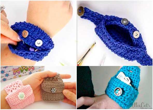 monederos brazaletes, pulseras cartera, patrones para crochet