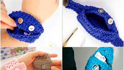 Brazaletes mini monederos compartimentos a crochet