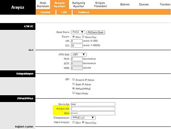 tp-link modem arayuz şifre