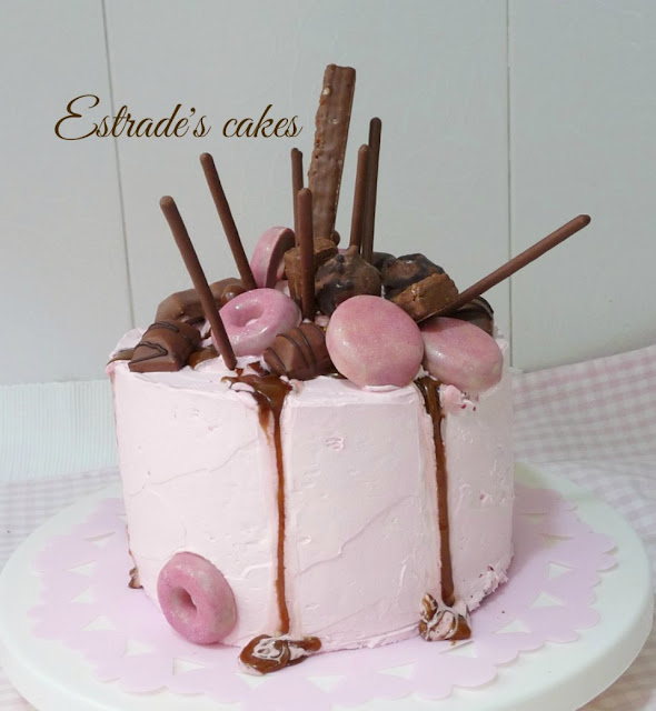 dripcake en rosa y chocolate 4