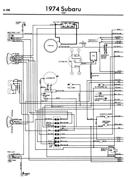repair-manuals: Subaru 1400 1974 Wiring Diagram