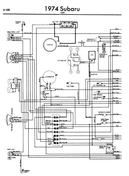 repairmanuals: Subaru 1400 1974 Wiring Diagram