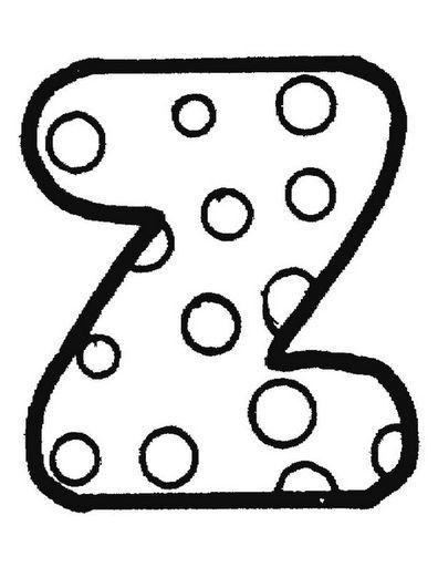 Alfabeto con lunares, para colorear o para usar como