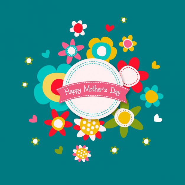 Floral happy Mother's Day card Free Vector