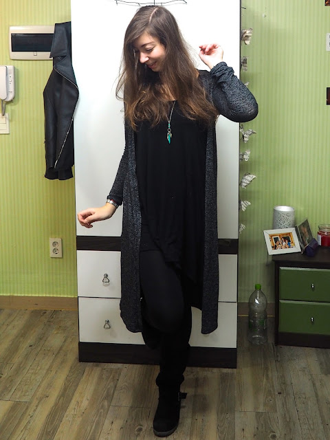 Black As Night - outfit of floaty black dress and leggings, with long grey cardigan and chunky black suede boots