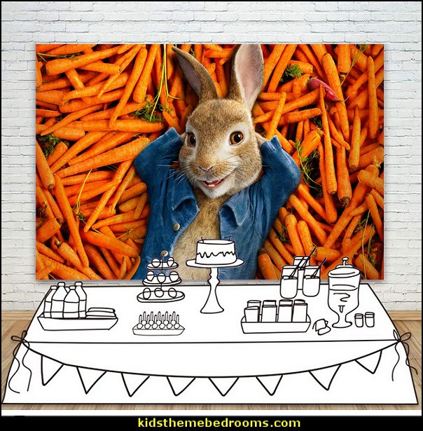 Peter Rabbit Backdrop for Kids Birthday 7x5 Orange Carrots Photo Background Baby Shower