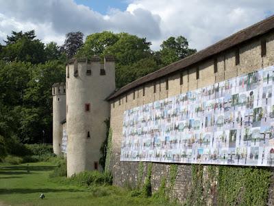Ai Weiwei banner on fortification wall, Basel, Switzerland
