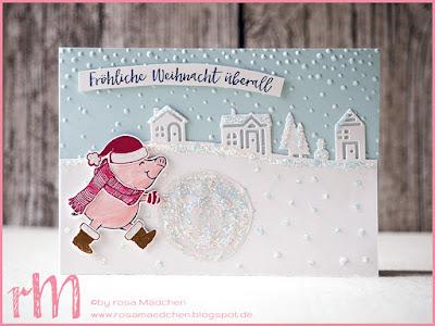 Stampin' Up! rosa Mädchen Kulmbach: Stamp A(r)ttack Blog Hop (7 auf einen Streich): Mein liebstes Stempelset – Weihnachtskarte mit Glücksschweinchen, Prägefolder leise rieselt und Edgelits Winterstädtchen