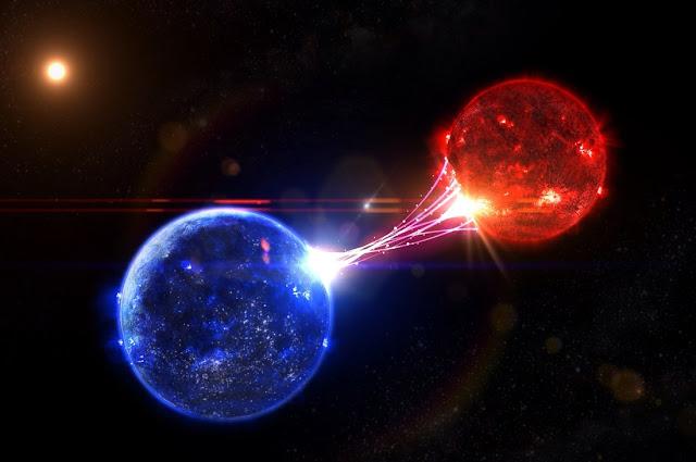 Se trata de la colisión de dos estrellas binarias