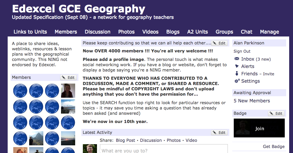 LivingGeography: 10 years of the Edexcel Ning