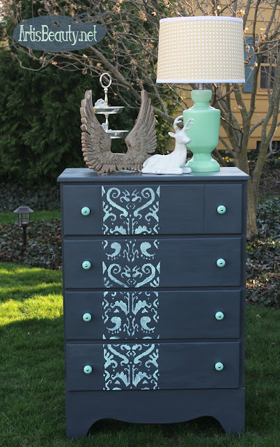 http://www.artisbeauty.net/2016/04/gray-and-mint-ikat-stencilled-dresser.html