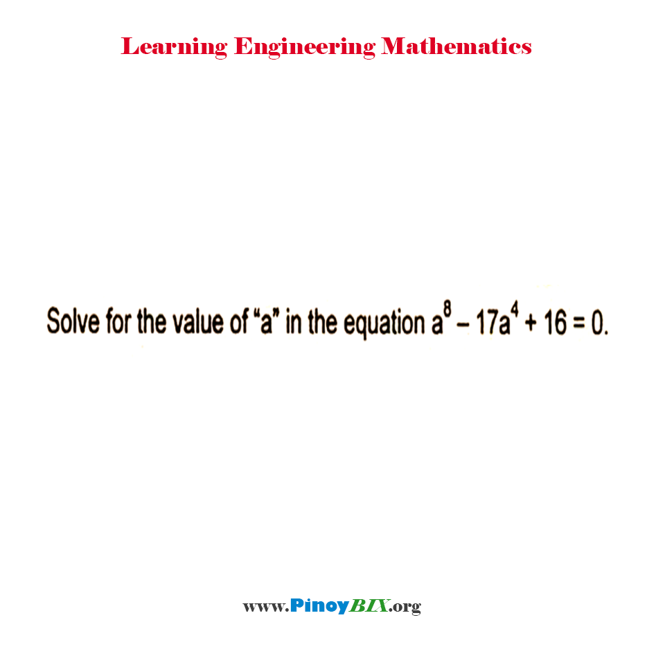 "Solve for the value of ""a"" in the equation a^8 – 17a^4 + 16 = 0."