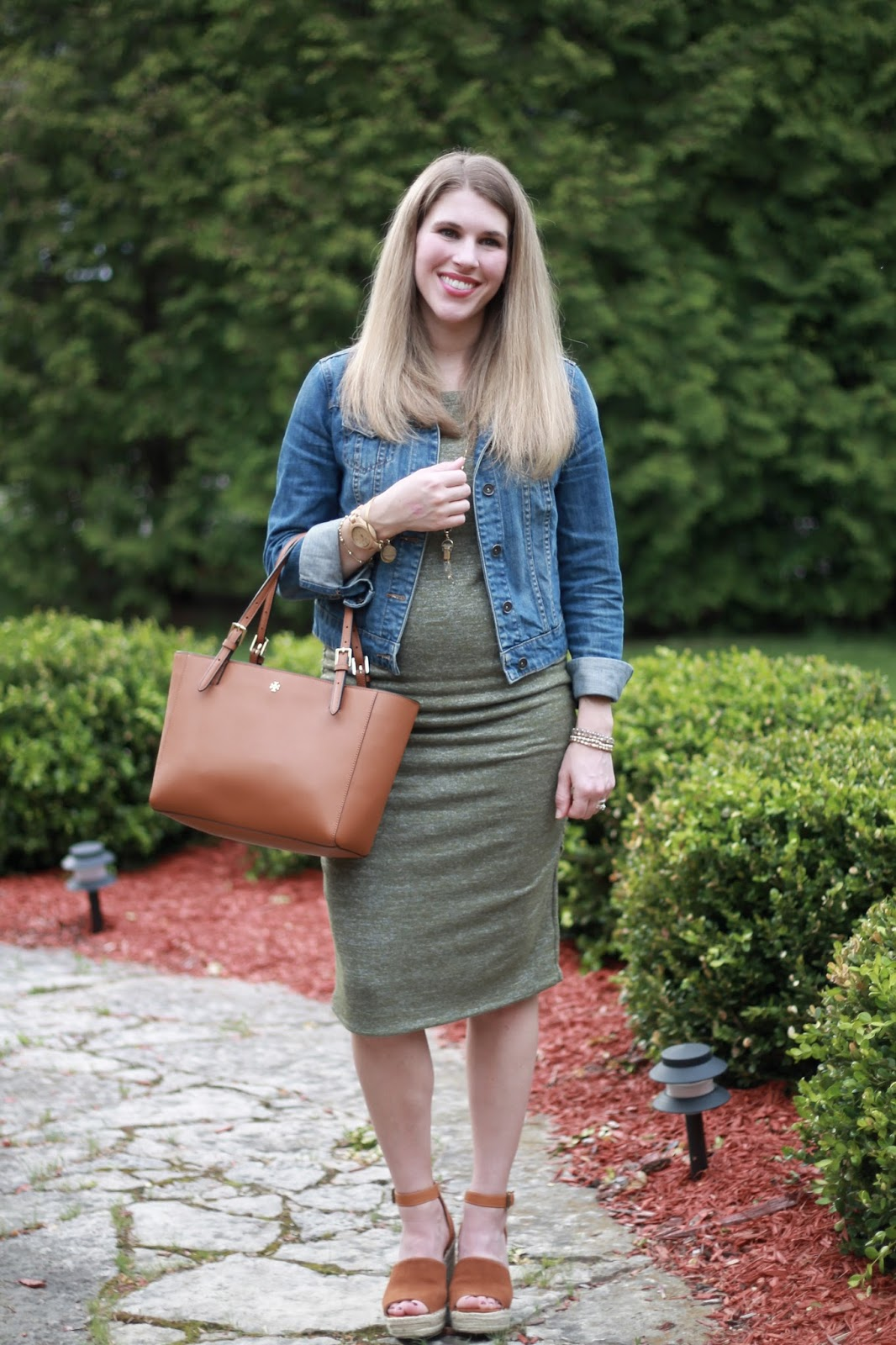 ruched olive maternity dress, denim jacket, Steve Madden wedges, Tory Burch tote