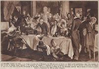 Eindelijk vrij, vooraanstaande Brusselse familie brengt een toast uit ter ere van Koning Leopold I