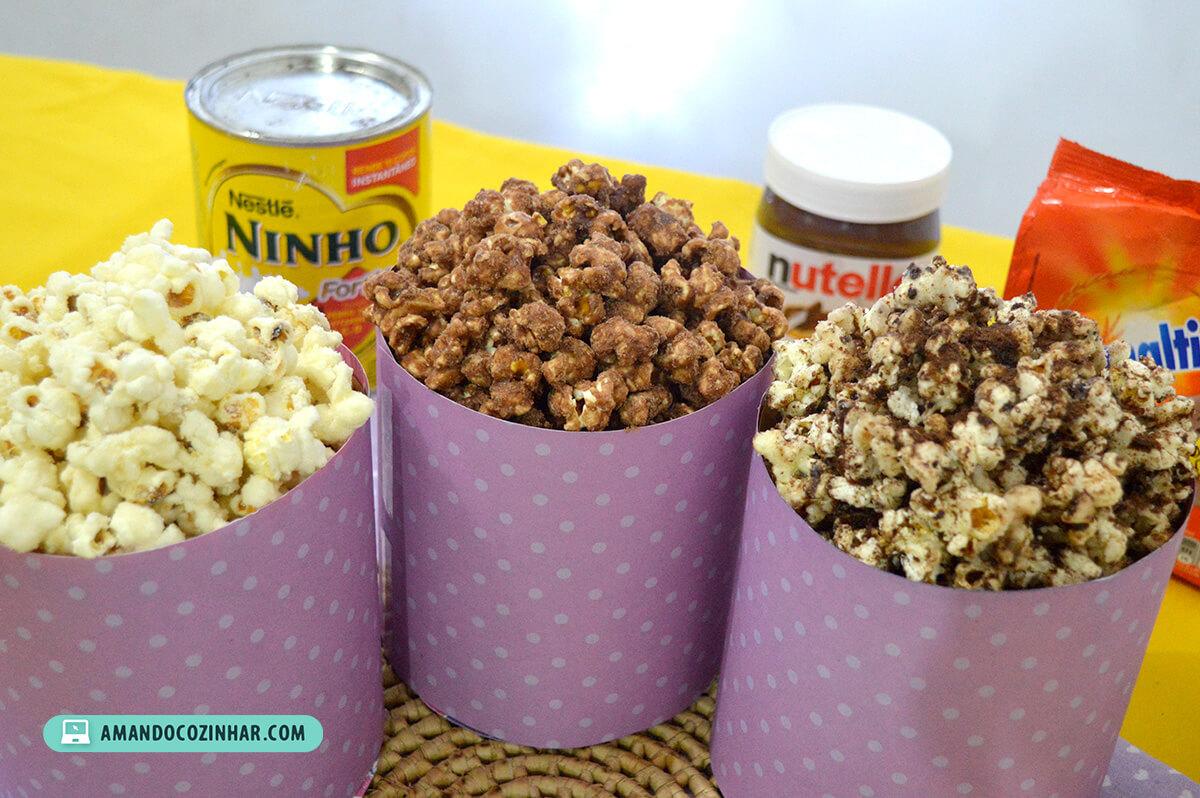 Excepcional 3 Receitas de pipoca doce: Nutella, Leite Ninho e Ovomaltine  CA92
