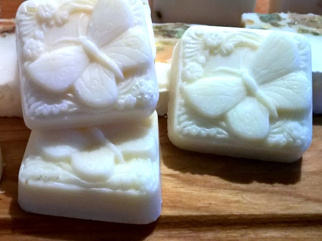 Lard soap is a pretty white color.