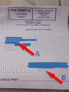 keterangan surat bagian depan