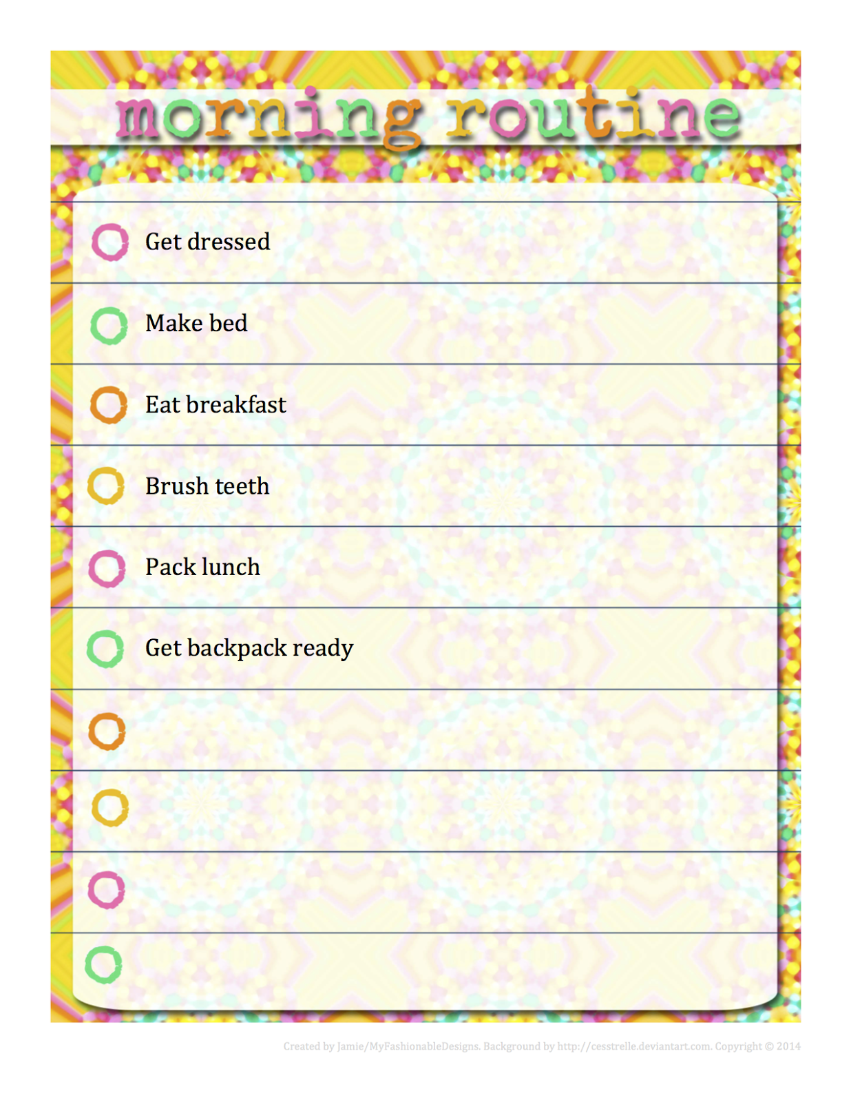 You can customize them in word to fit your own routines download morning here or bedtime click on the images below also my fashionable designs routine  free rh myfashionabledesigns