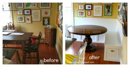 kitchen banquette before and after