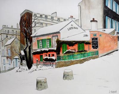 peinture paris neige julien dugue