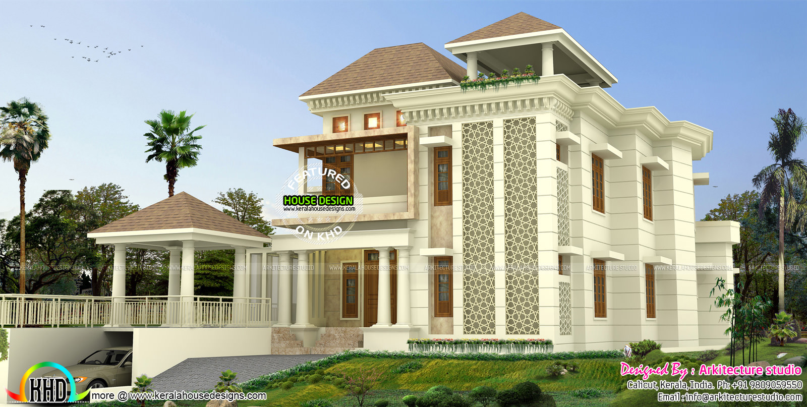 500 sq yd modern house architecture kerala home design for Architect design house plans